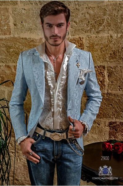 Light blue floral brocades men's fashion party blazer modern tailored Italian cut