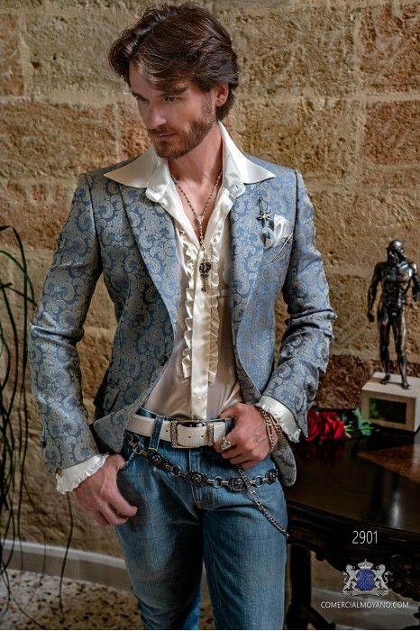 Lavender blue men's fashion party blazer with ivory floral brocades modern Italian cut tailored
