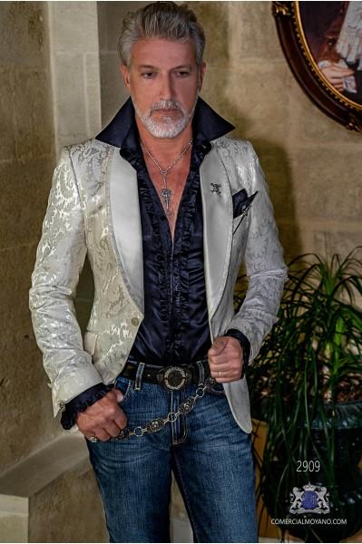 Blazer de fête de mode pour hommes brocart floral blanche avec col châle en satin
