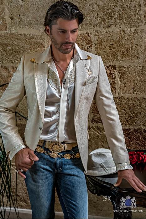 Pure silk ivory floral brocades men's fashion party blazer peak lapels with satin profile