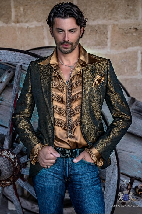 Bronce mens fashion party blazer with black floral brocade modern Italian cut tailored