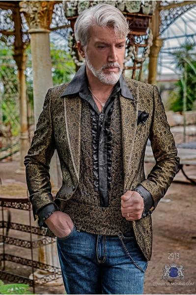 Blazer de fête de mode pour homme en bronze avec brocart floral noir et revers en pointe avec profil satiné