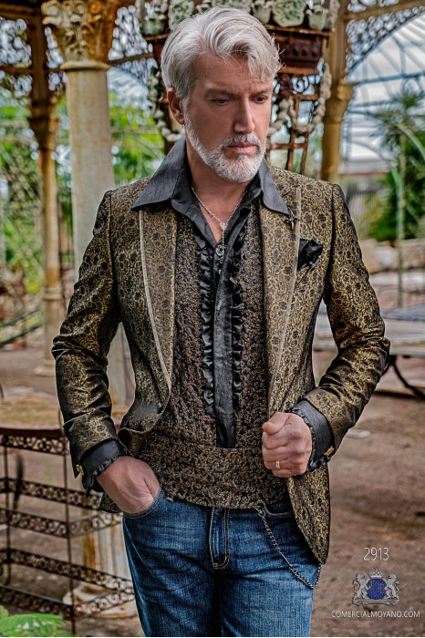 Bronce with black floral brocade mens fashion party blazer peak lapels with satin profile