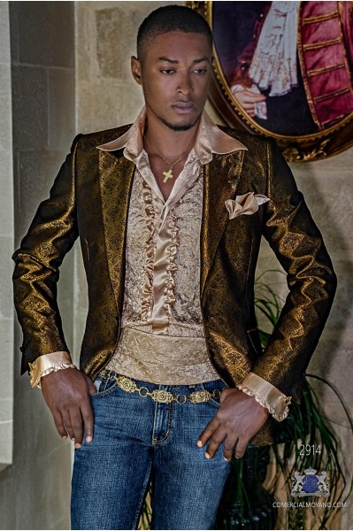 Blazer fiesta moda hombre dorada brocados florales negros