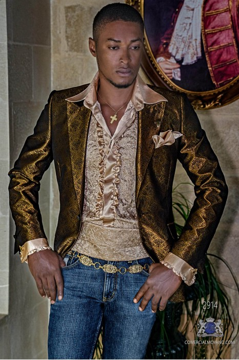 Gold men's fashion party blazer with black floral brocade modern Italian cut tailored