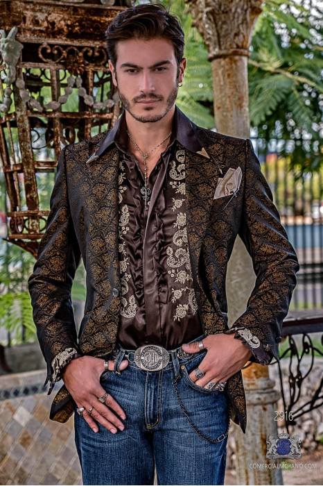 Black men's fashion party blazer with gold floral brocade modern Italian cut tailored