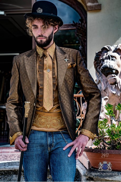 Gold men's fashion party blazer with golden floral brocade modern Italian cut tailored