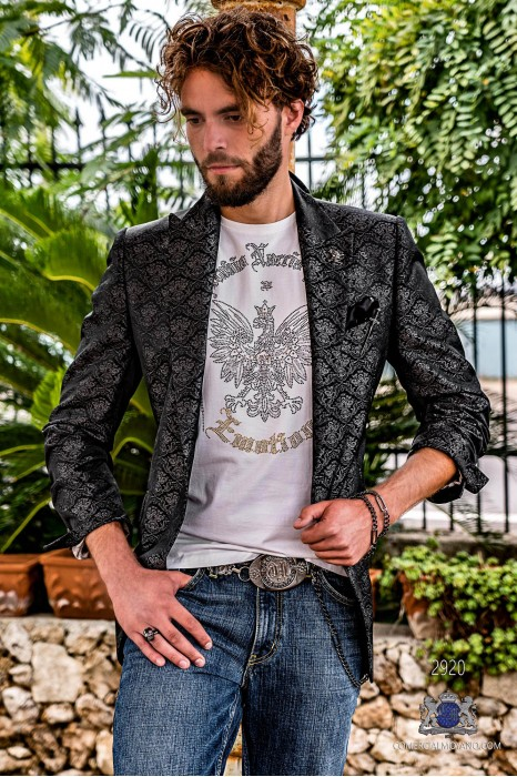 Black men's fashion party blazer with silver floral brocade modern Italian cut tailored
