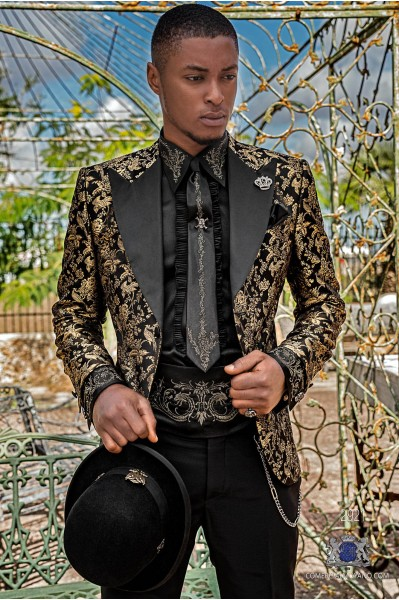 Black pure jacquard silk men's fashion party blazer gold floral brocade with black satin peak lapels