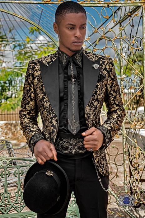 Black pure jacquard silk men's fashion party blazer gold floral brocade with black satin peak lapels