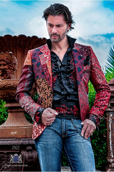 Red Patchwork men's fashion party blazer pure jacquard silk floral designs
