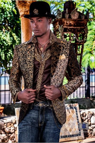 Blazer de fête de mode pour homme Patchwork doré en pure soie jacquard à motifs floraux