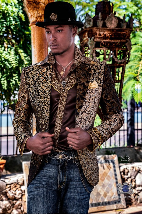 Gold Patchwork men's fashion party blazer pure jacquard silk floral designs