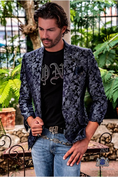 Blue pure jacquard silk men's fashion party blazer with floral brocade
