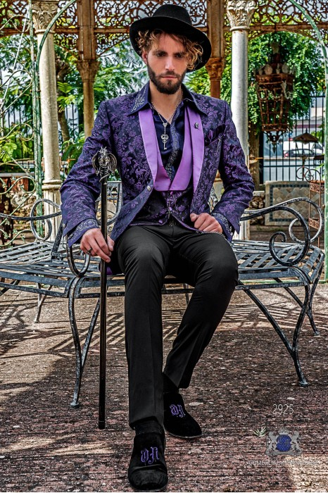 Black pure jacquard silk men's fashion party blazer purple floral brocade with purple satin shawl collar