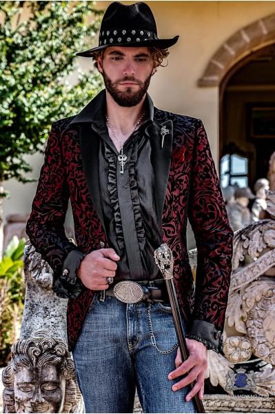 Blazer de fête de mode pour homme rouge avec brocart à fleurs en velours noir et revers en satin noir