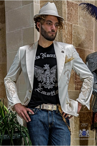 White satin men's fashion party blazer with golden embroidered eagle