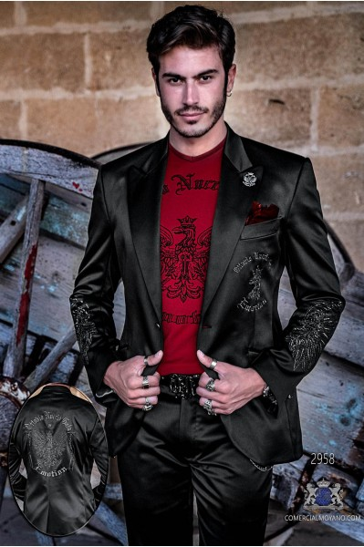 Black satin men's fashion party blazer with silver embroidered eagle