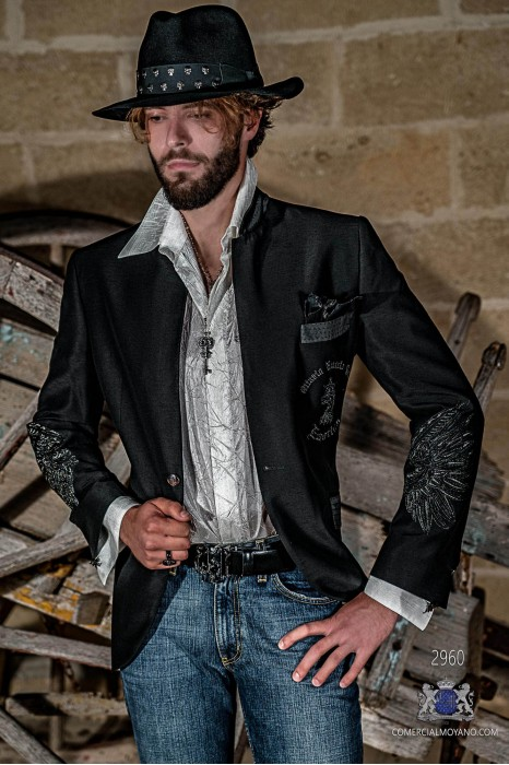 Black shantung men's fashion party blazer with silver embroidered eagle