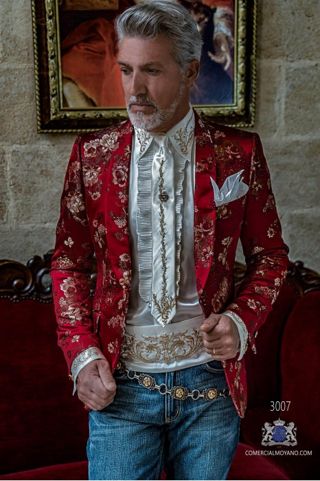 Red jacquard silk men's fashion party blazer with golden floral brocade