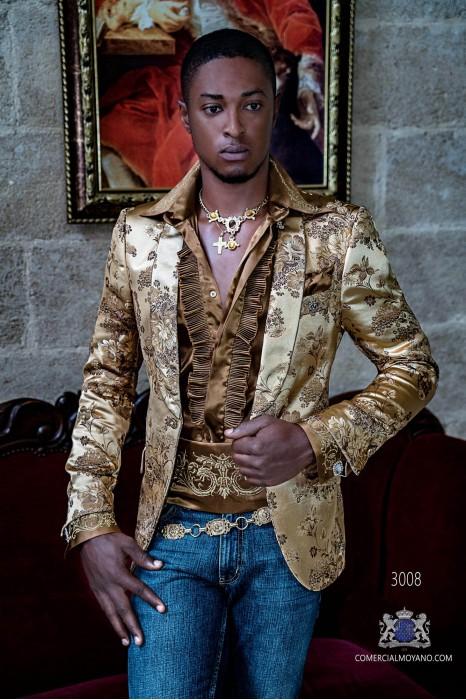 Gold jacquard silk men's fashion party blazer with golden floral brocade
