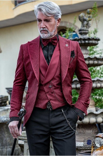Garnet brocade rocker groom suit with lapel satin profile Italian cut slim fit