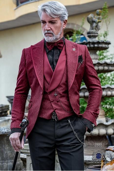 Garnet brocade rocker groom suit with lapel satin profile Italian cut slim fit