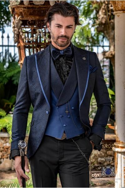 Blue brocade rocker groom suit with lapel satin profile Italian cut slim fit