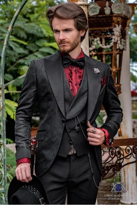 Black brocade rocker groom suit with black satin peak lapels & cuffs
