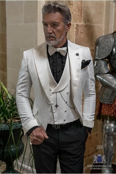 Whaite brocade rocker groom suit with white satin peak lapels & cuffs