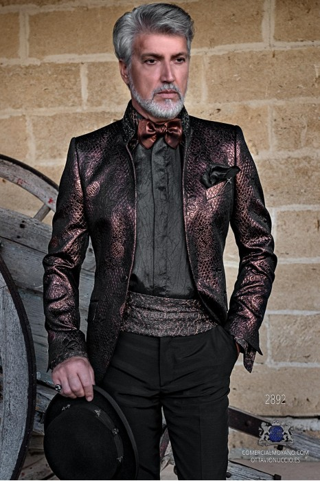 Copper brocade rocker groom suit with black rhinestones Mao collar