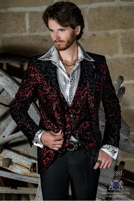 Red men's fashion party blazer with black velvet floral brocade fabric