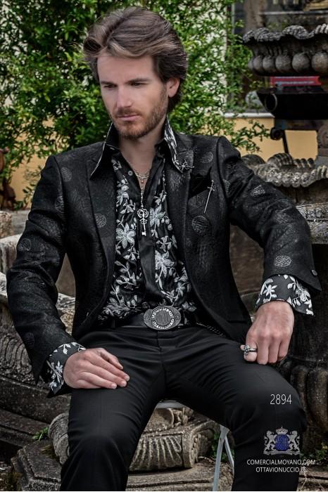 Black men's fashion party blazer in flocked brocade fabric