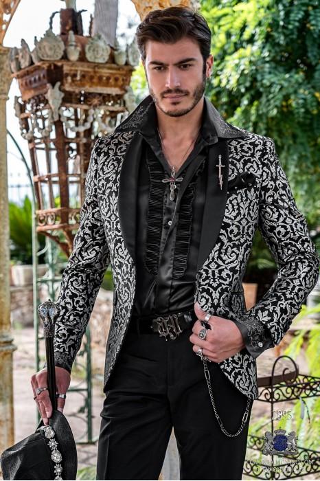 Black men's fashion party blazer with silver flocked floral brocade