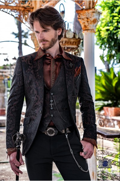 Brown rocker groom suit with black gothic brocade tailored italian cut