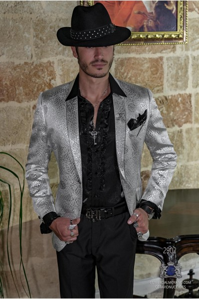 Silver men's fashion party blazer in flocked brocade fabric shawl collar with silver trim