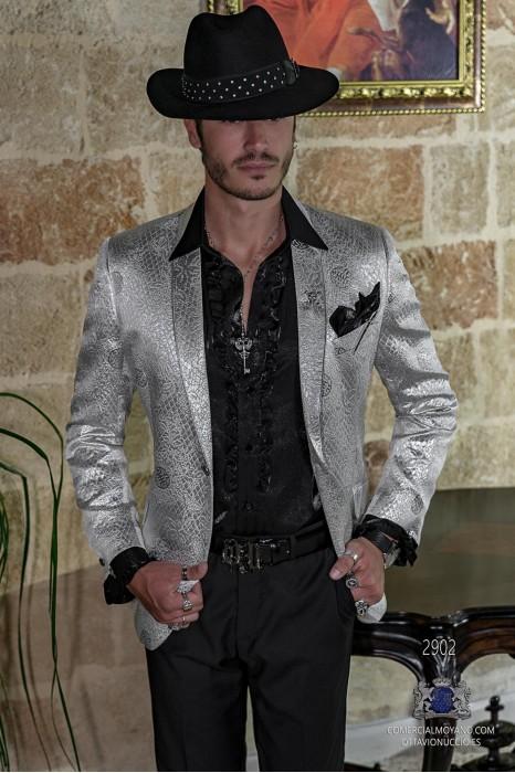 Silver men's fashion party blazer in flocked brocade fabric shawl collar with silver trim