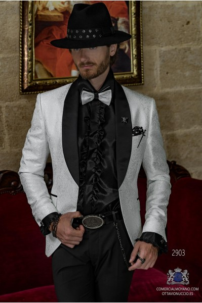White brocade rocker groom suit with black satin shawl collar