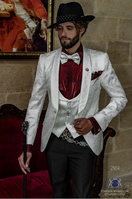 White brocade rocker groom suit with white satin profile on shawl collar