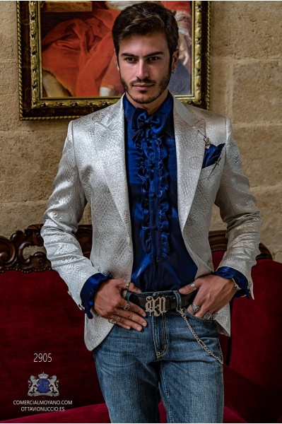 Silver men's fashion party blazer in flocked brocade fabric