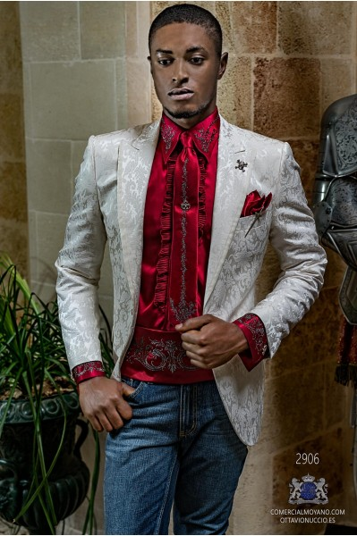 White brocade rocker groom blazer with white satin profile on peak lapels