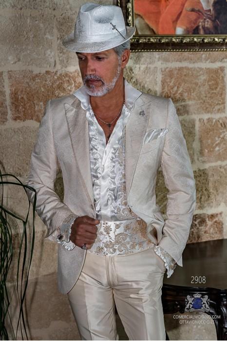 Ivory rocker gothic suit shantung silk jacquard fabric Italian cut slim fit