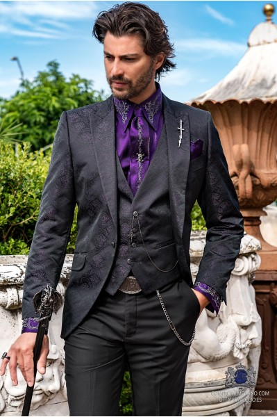 Black rocker groom suit with purple gothic floral brocade tailored italian cut
