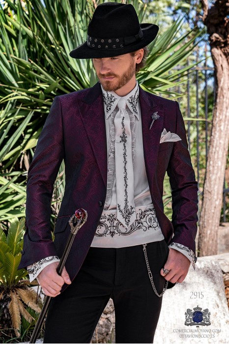 Purple rocker groom suit with black gothic floral brocade tailored italian cut