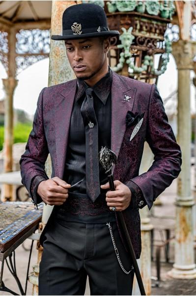 Purple rocker groom suit with black gothic floral brocade