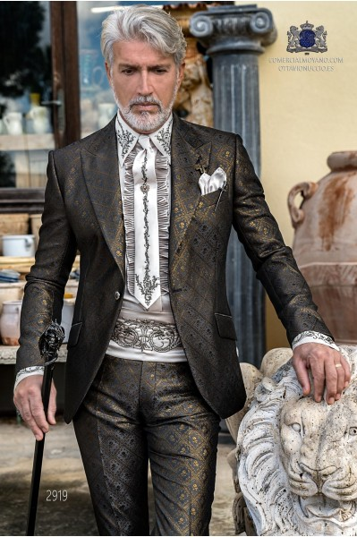 Grey rocker groom suit with gold gothic floral brocade tailored italian cut