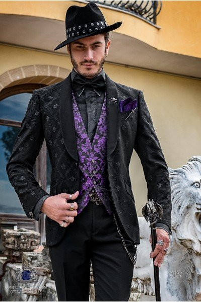 Black men's fashion party blazer in embroidered fleur de lis fabric with shawl collar with black trim