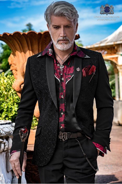 Black men's fashion party blazer in floral embroidered fabric with black satin shawl collar