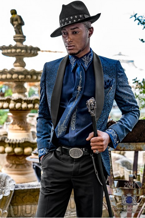 Black rocker groom suit with blue gothic floral brocade and black satin shawl collar