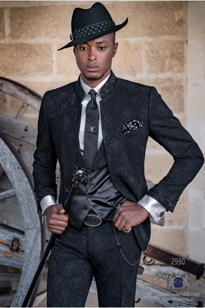 Black brocade rocker groom suit with black rhinestones Mao collar